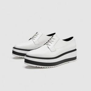 ZARA 2018 Size 9 Platform Plain Toe Lace-up Shoes